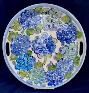 "14"" Round Ceramic Hydrangea Server with handles."