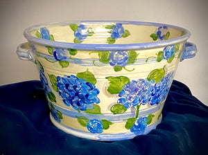 "Spectacular Ceramic Hydrangea Ice Barrel! 9"" X 16"" to keep you beer, wine and champagne chilled...aaahhh! Refreshing!"
