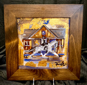 "10"" X 10"" Framed Gold Leaf accented Dressage Rider ""Passing the Barn at Devon"" Motif painting on canvas"