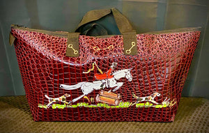 "Fun & Colorful Day Tote! 17"" X 10"" X 6"" Vegan Alligator Tote - Fox Hunt"