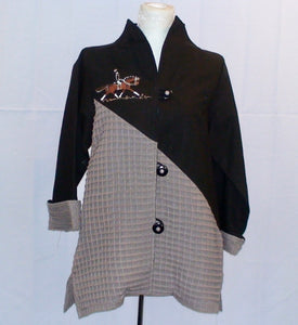 Dressage Jacket - Hand painted Black & Tan Linen & Cotton