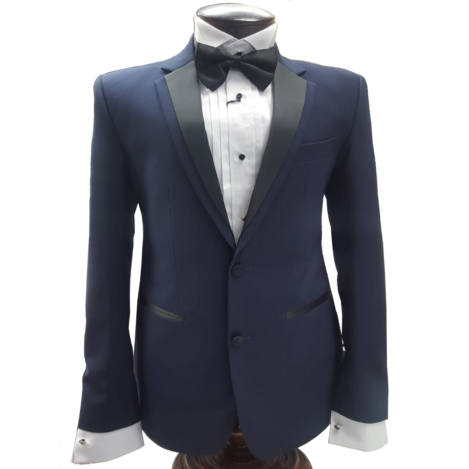 Navy Blue 2 Button Tuxedo with Black Trim