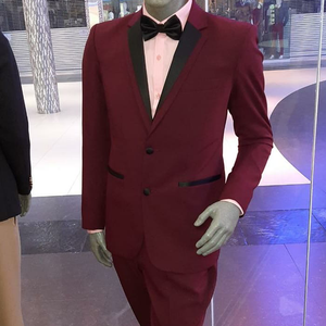 Burgundy 2 Button Tuxedo with Black Trim