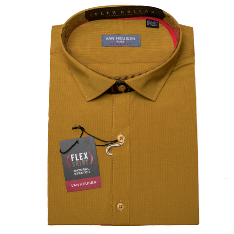 Mustard Two Tone Stripe Van Heusen Flex Bamboo Long Sleeve Slim Fit Shirt