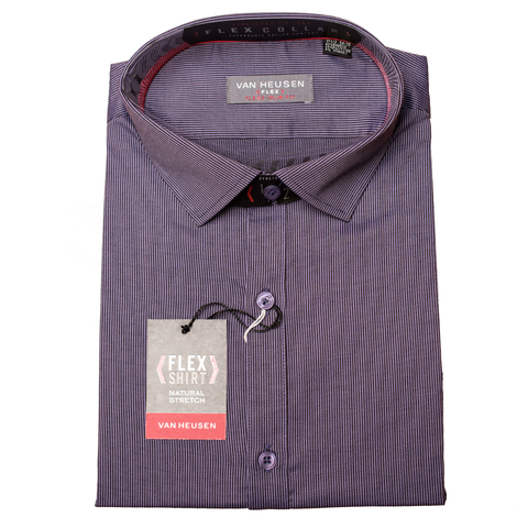 Slate Blue Two Tone Stripe Van Heusen Flex Bamboo Long Sleeve Slim Fit Shirt
