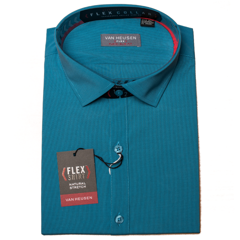 Turquoise Two Tone Stripe Van Heusen Flex Bamboo Long Sleeve Slim Fit Shirt