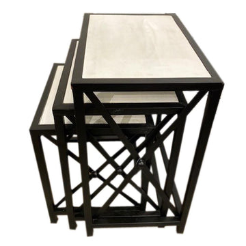 White Wash WOOD Top/Black Base Side Tables