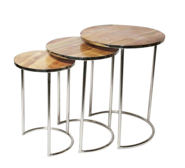 Acacia Wood Top/Matte Nickle Base Side Tables