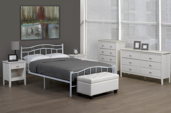 BCT0052 METAL PLATFORM BED WHITE