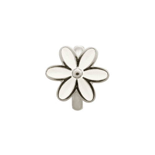 White Enamel Flower Silver - Endless Nordic