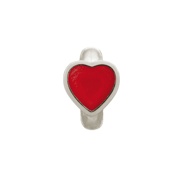 Red Enamel Heart Silver