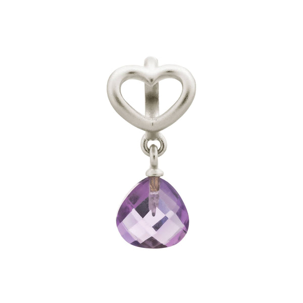 Amethyst Heart Grip Drop Silver