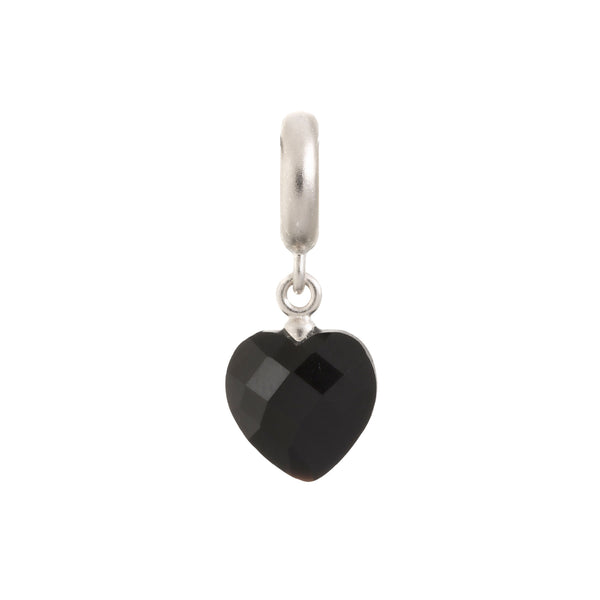 Black Heart Cut Drop Silver