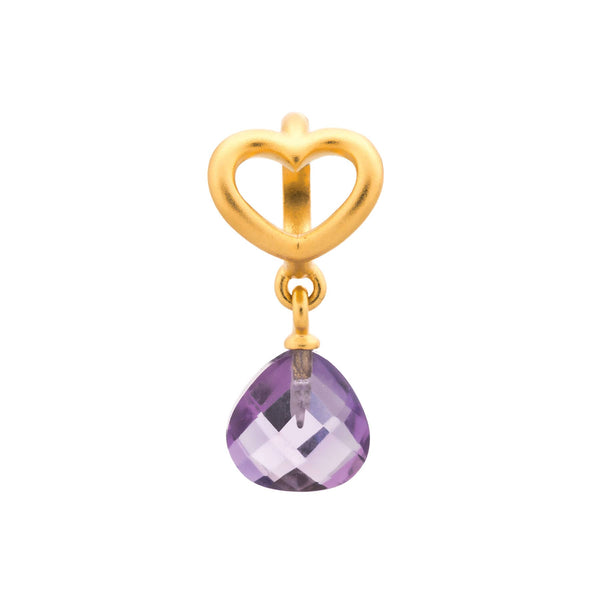 Amethyst Heart Grip Drop Gold