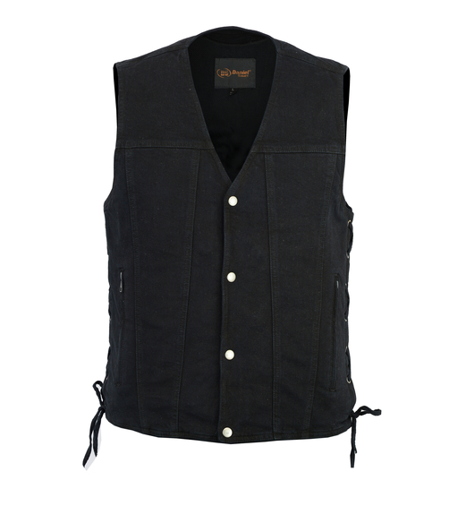 Men's Single Back Panel Concealed Carry Denim Vest With Lace-Up Sides [50% Off]