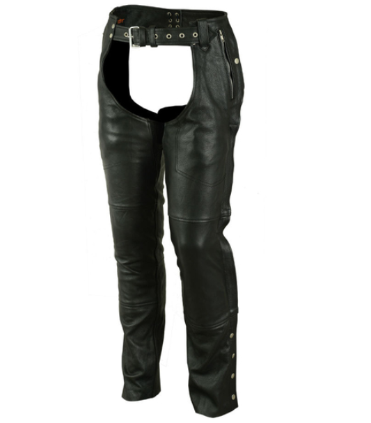 Unisex Double Deep Pocket Thermal Lined Milled Cowhide Chaps [50% Off]