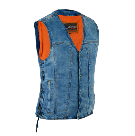 Men's Single Back Panel Concealed Carry Denim Vest [50% Off]