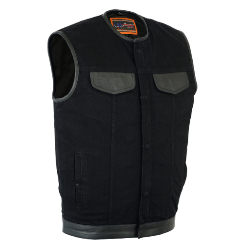 Men's Black Denim Single Panel Concealment Vest W/leather Trim- W/o Collar [50% Off]