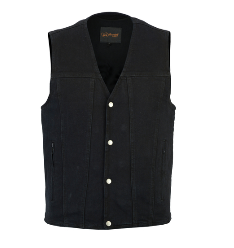 Men's Single Back Panel Concealed Carry Black Denim Vest [50% Off]