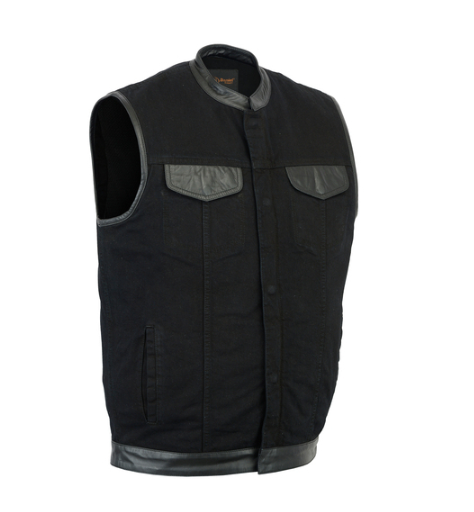 Men's Black Denim Single Panel Concealment Vest W/ Leather Trim [50% Off]