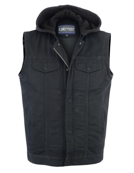 Men's Black Denim Single Back Panel Concealment Vest W Removable Hood [50% Off]