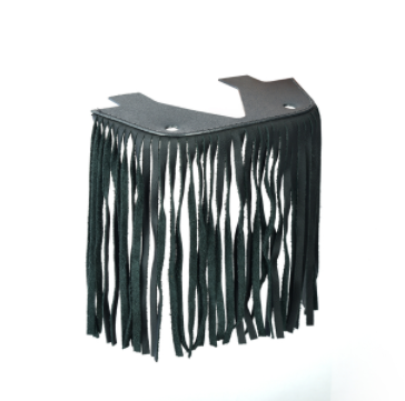 B1004 Black Leather Floor Boards With Fringe - Small [50% Off]
