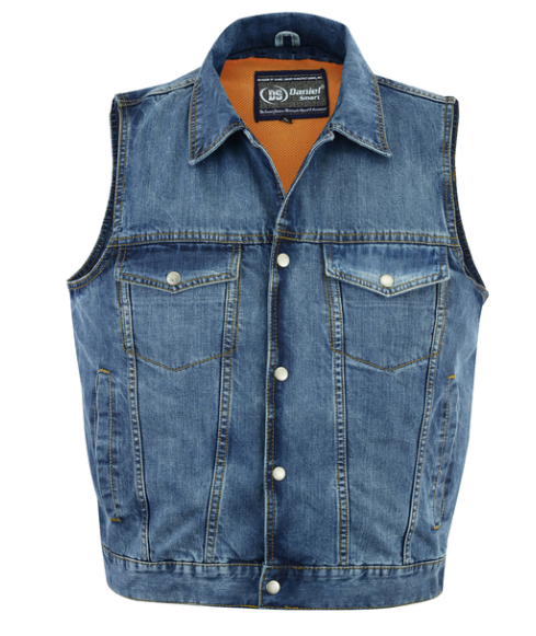 Snap Front Denim Vest- Blue [50% Off]