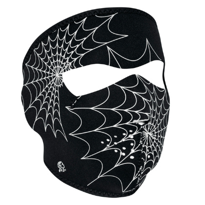 WNFM057G ZAN® Full Mask- Neoprene- Spider Web, Glow in the Dark [50% Off]