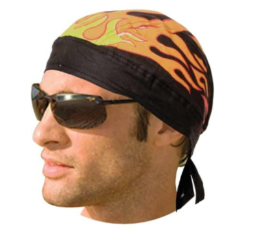 HW2682 Headwrap Black With Flames [50% Off]