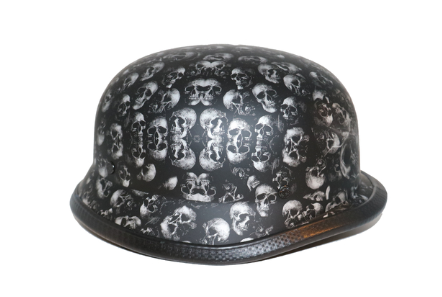 Novelty German Grey Skull Flat Black - Non Dot [50% Off]