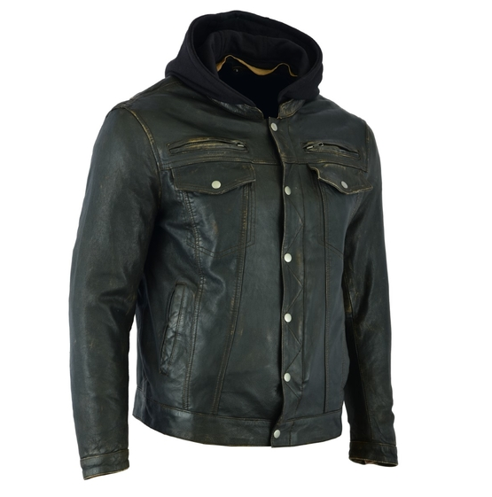 Men's Lightweight Drum Dyed Distressed Naked Lambskin Jacket [50% Off]