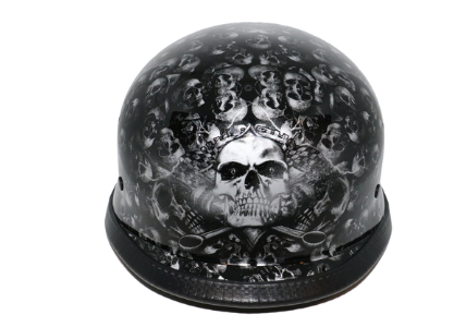 Novelty German Grey Skull Gloss Black - Non Dot [50% Off]