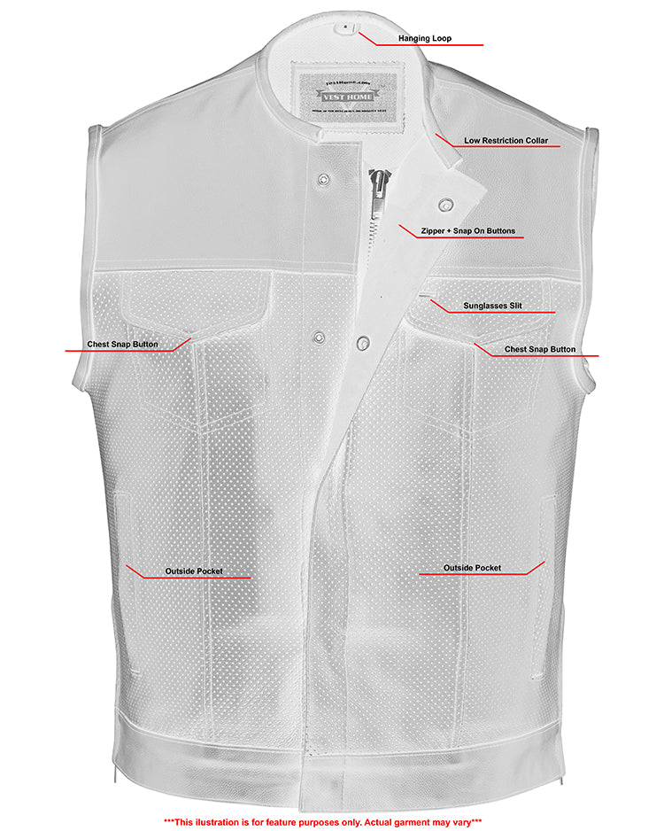 Men's Premium Perforated Single Back Panel Concealment Vest W/o Collar [50% Off]
