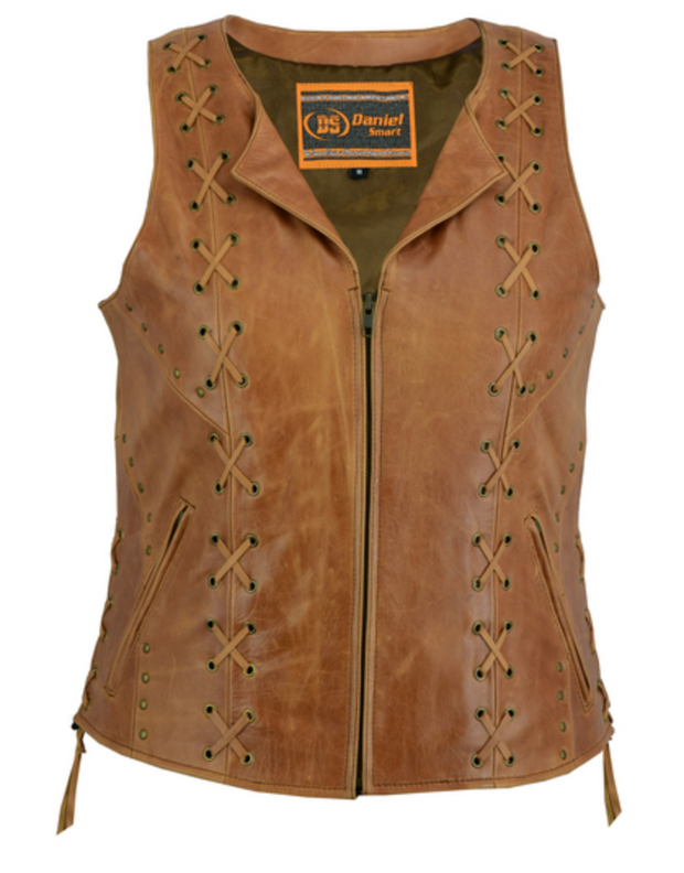 Exclusive Womens Brown Zippered Vest With Lacing [50% Off]