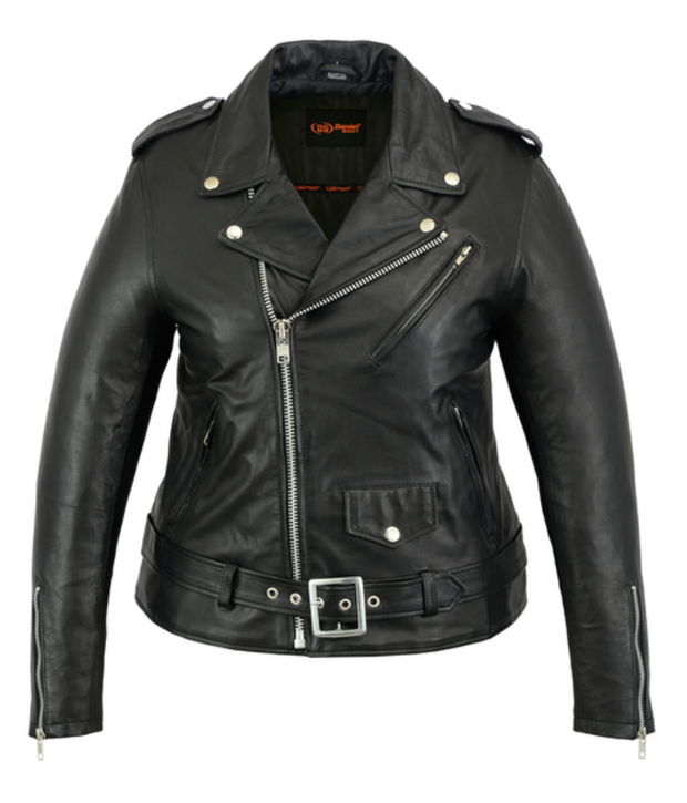 Exclusive Women's Classic Plain Side Fitted Leather Jacket [50% Off]