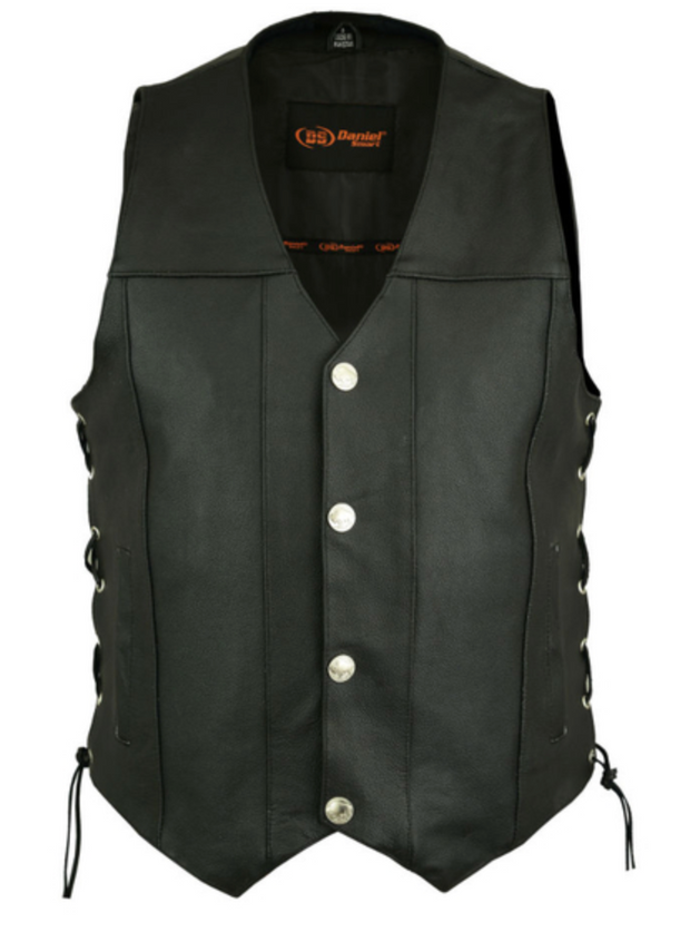 Mens  Single Back Concealed Carry Vest With Lace-Up Sides (Buffalo Nickel Head Snaps) [50% Off]