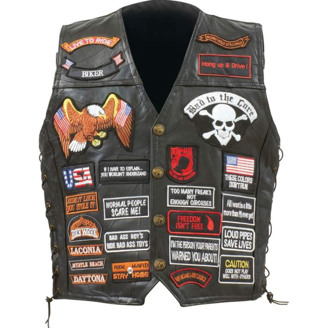 Exclusive Patched Biker Vest - Free Shipping [50% Off]