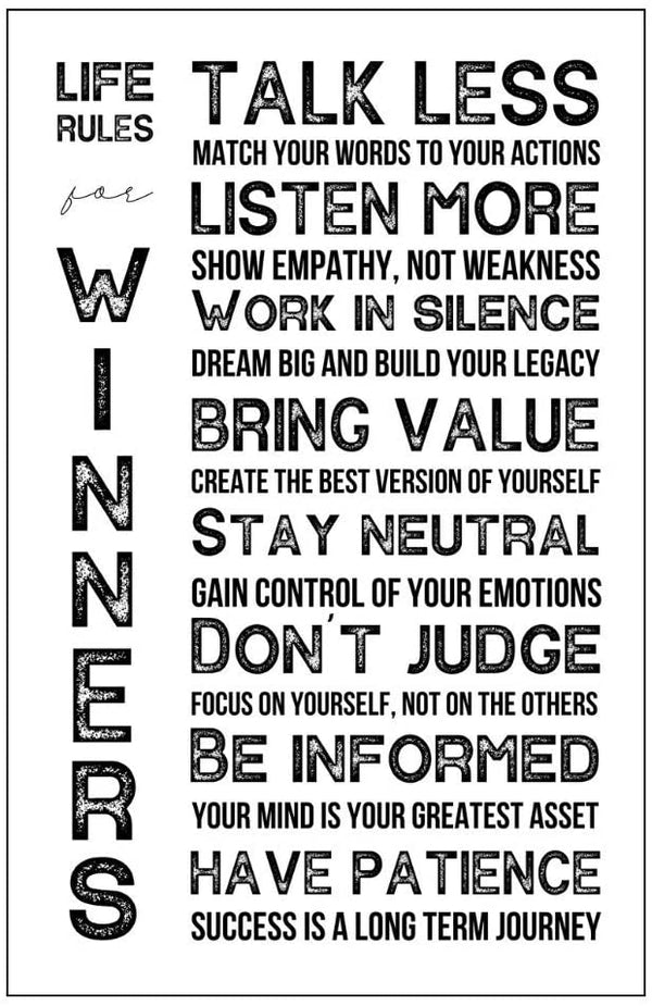 Life Rules for Winners Poster - White - MOTIVORIZE™