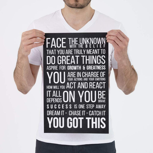 Face The Unknown Poster - Black - MOTIVORIZE™