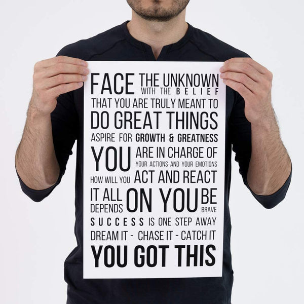 Face The Unknown Poster - White - MOTIVORIZE™