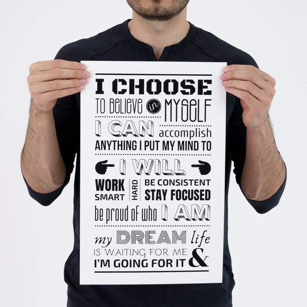 Daily Positive Affirmations Poster - White - MOTIVORIZE™