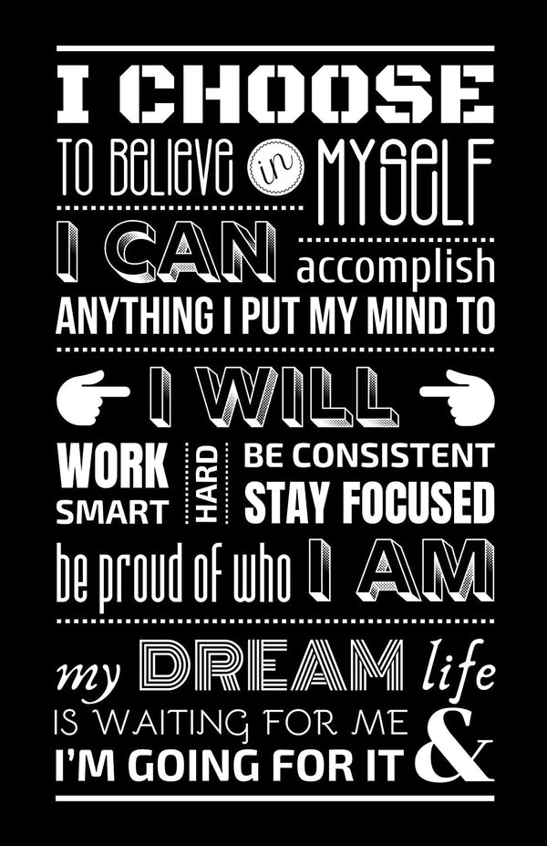 Daily Positive Affirmations Poster - Black - MOTIVORIZE™