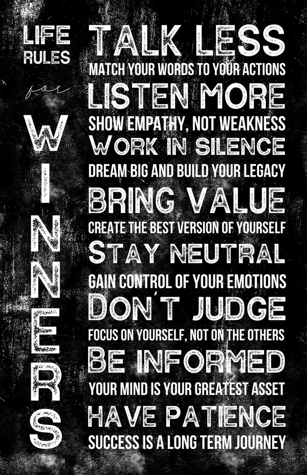 Life Rules for Winners Poster - Black - MOTIVORIZE™