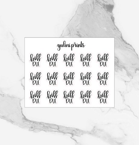 Bill Due - Handlettered Script Stickers