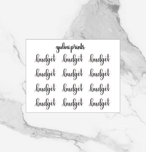 Budget - Handlettered Script Stickers