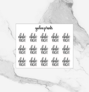 Date Night - Handlettered Script Stickers