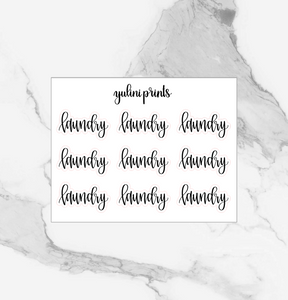 Laundry - Handlettered Script Stickers