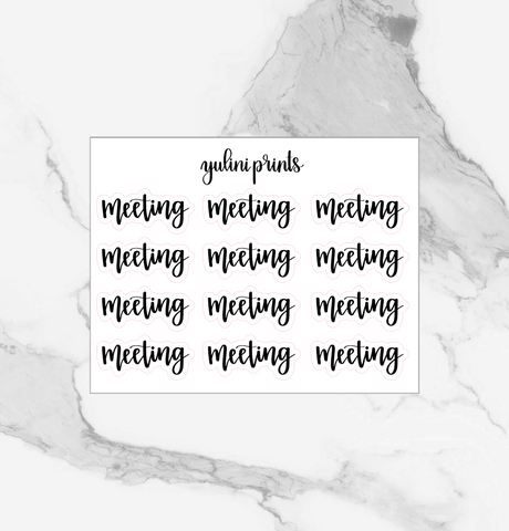Meeting - Handlettered Script Stickers