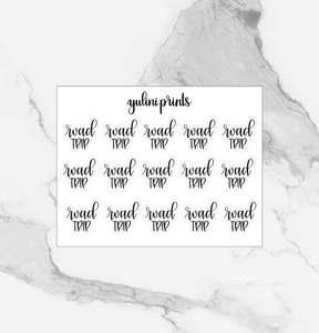 Road Trip - Handlettered Script Stickers