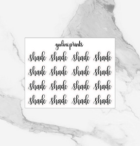 Shade - Handlettered Script Stickers